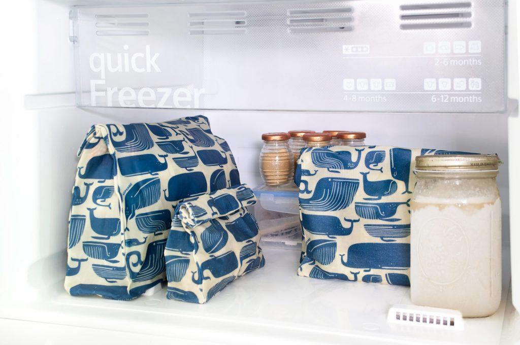Blue Whales Waxed Food Bag in Fridge