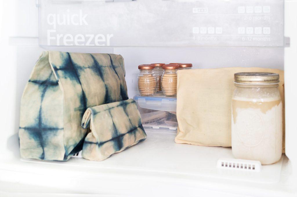 BeeIndigo Waxed Food Bag in Fridge
