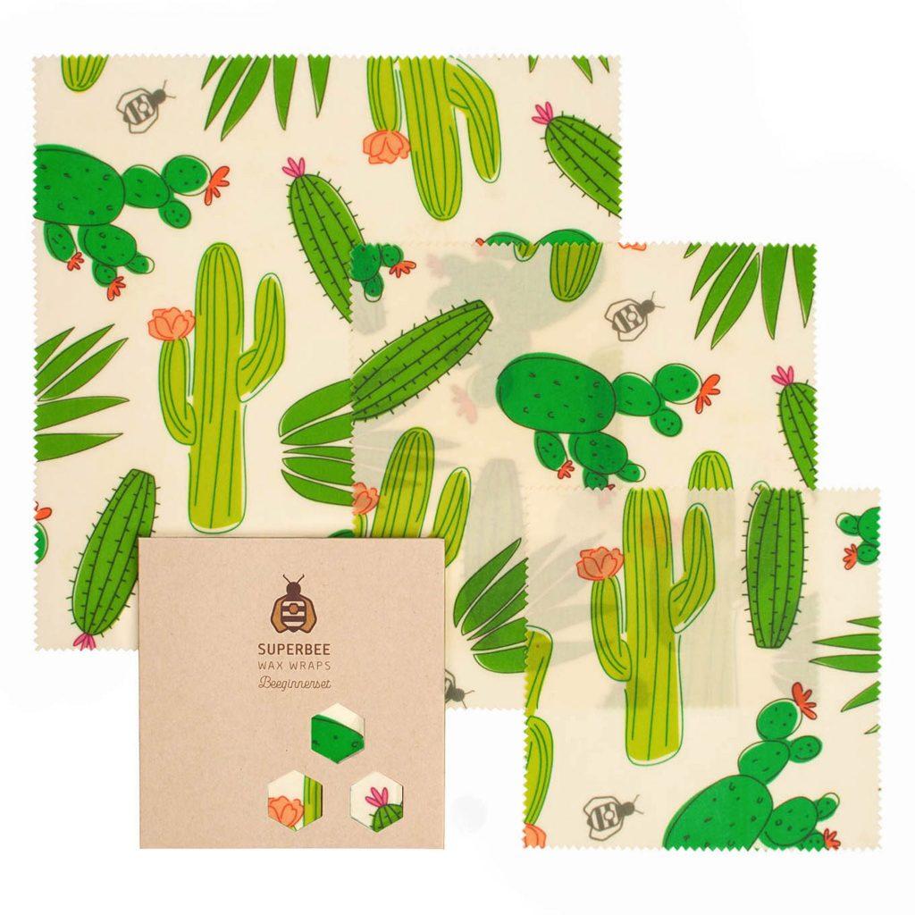 Beeswax Wraps Set in Big Cactus Design