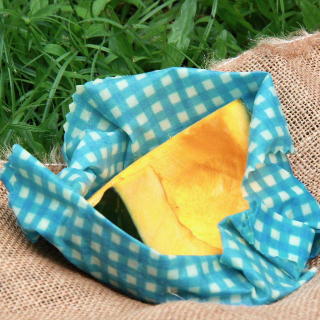 Beeswax Wrap Blue Gingham in use