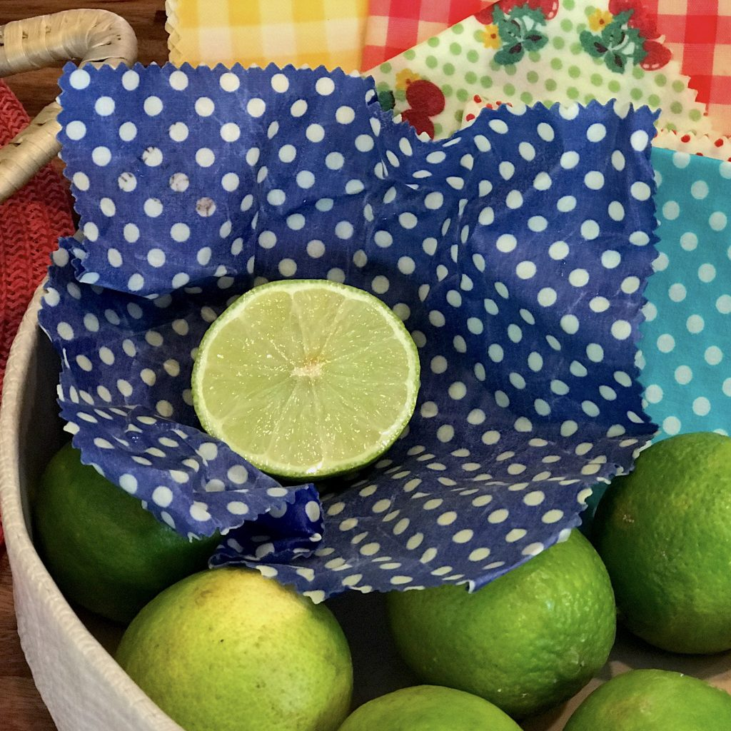 Beeswax Wrap Blue Polka Dots in use
