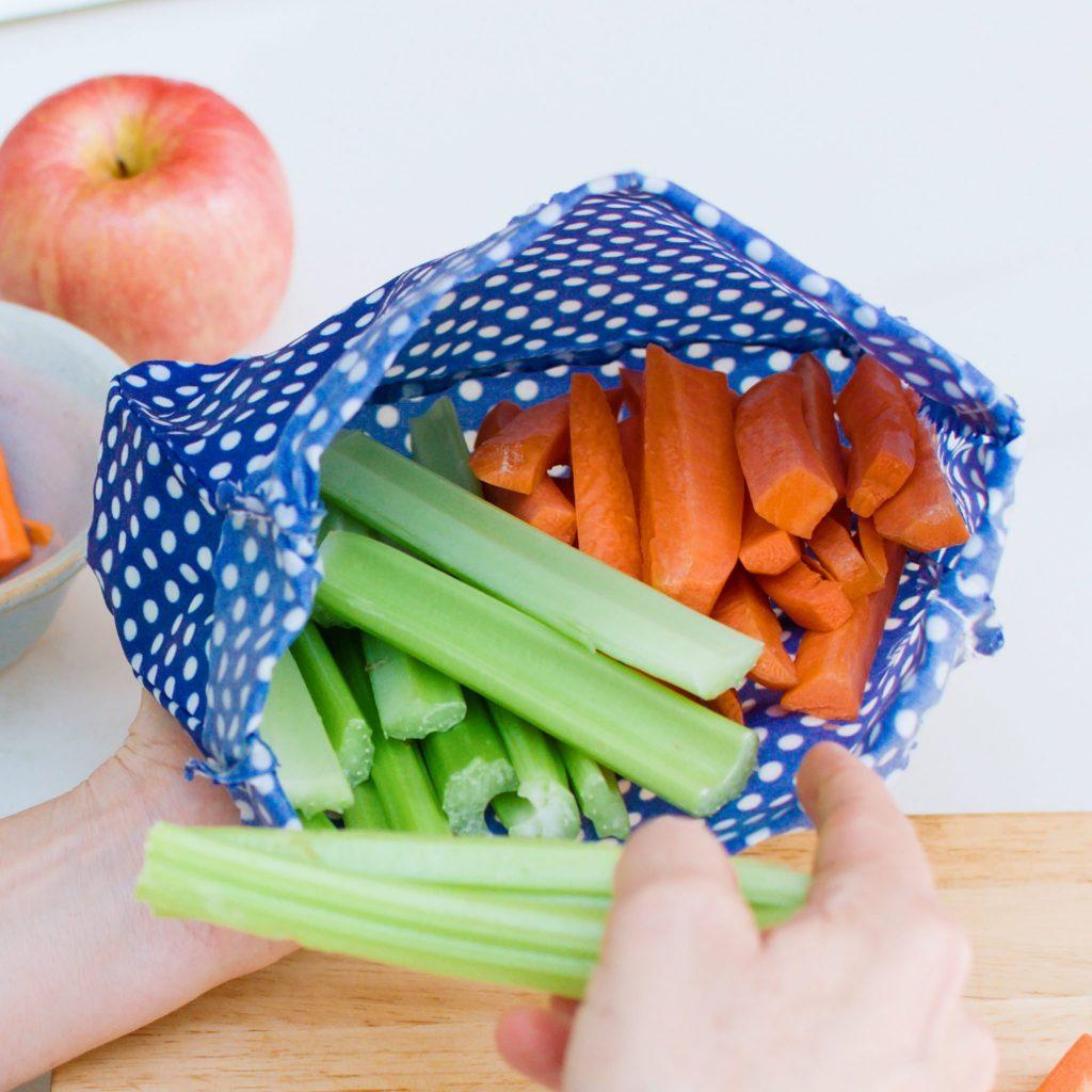 Blue Polka DOts Waxed Food Bags in use