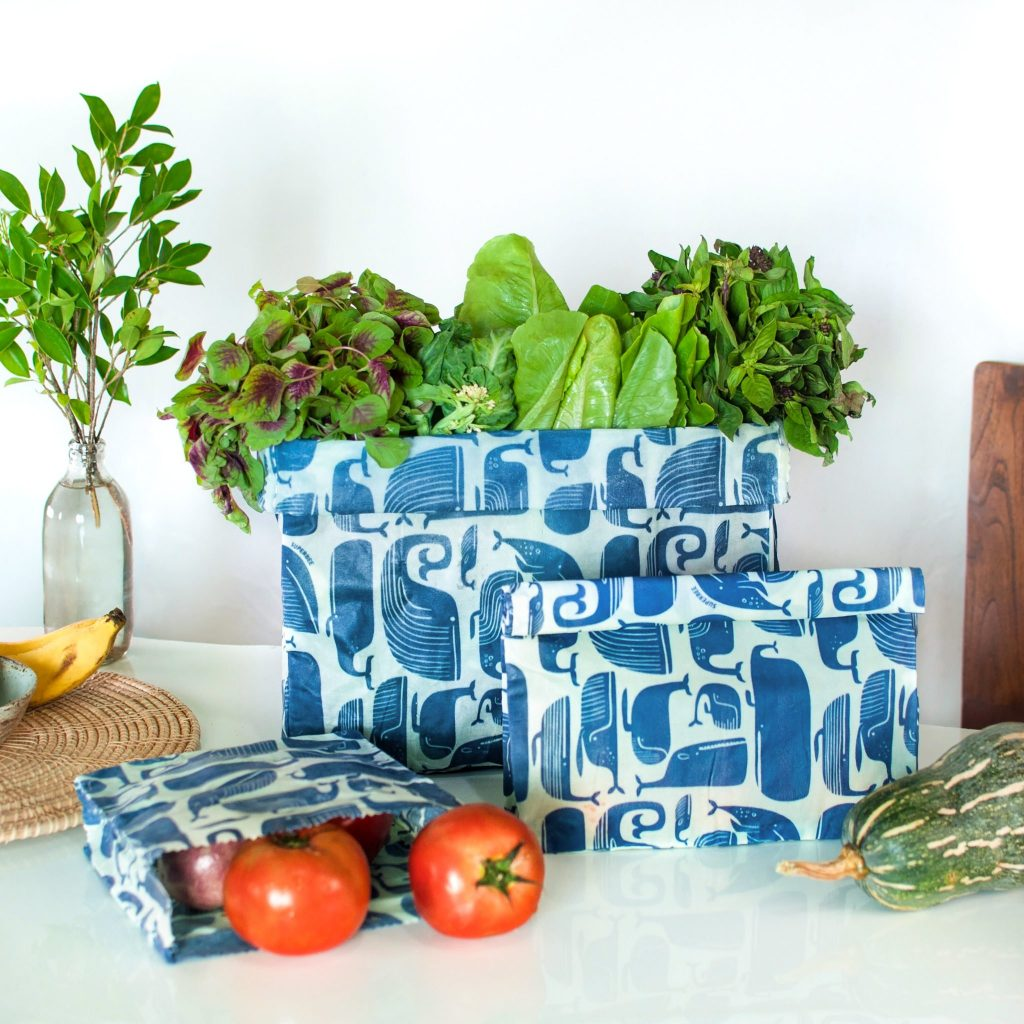 Whales Waxed Food Bags in use