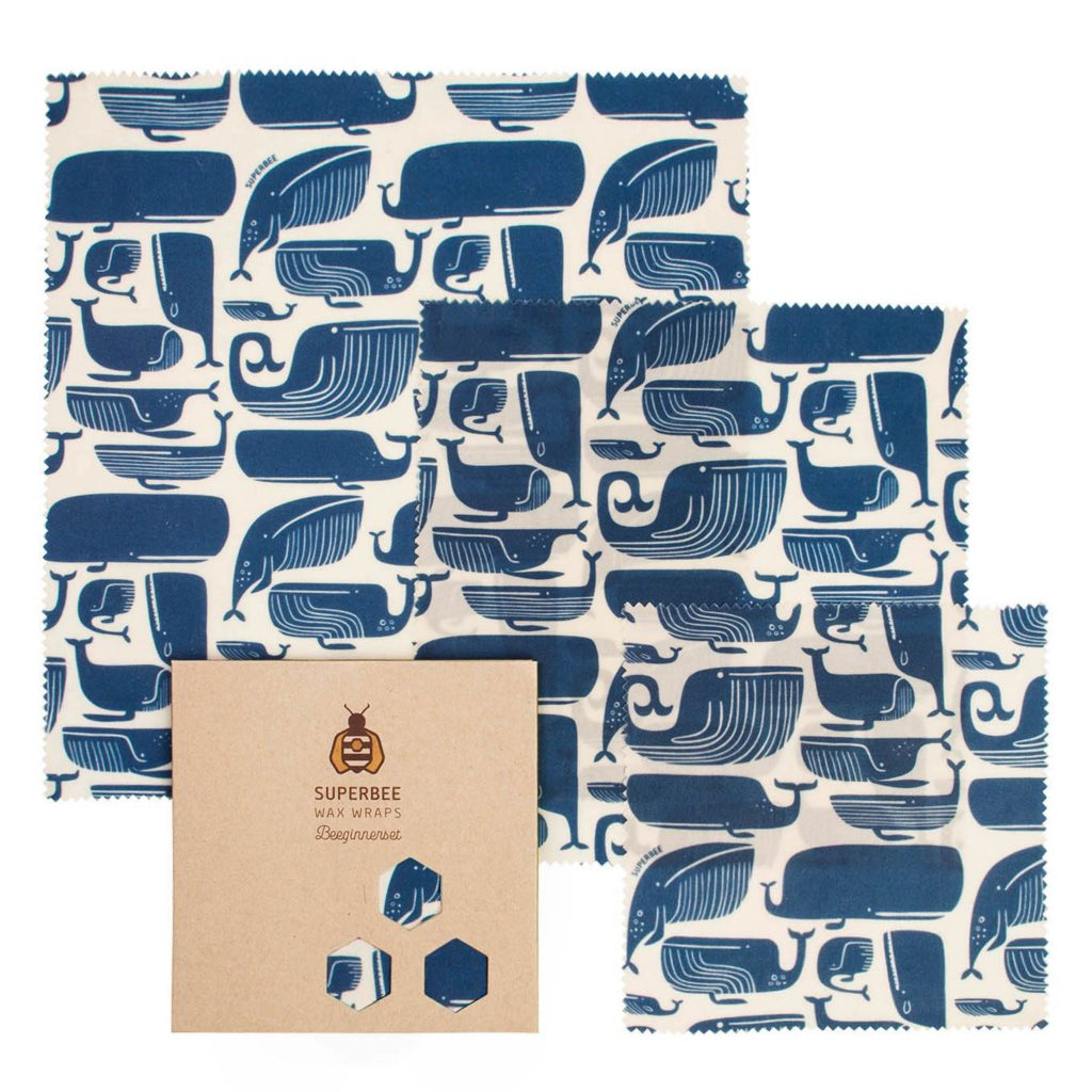 Beeswax Wraps Set in Blue Whales Design