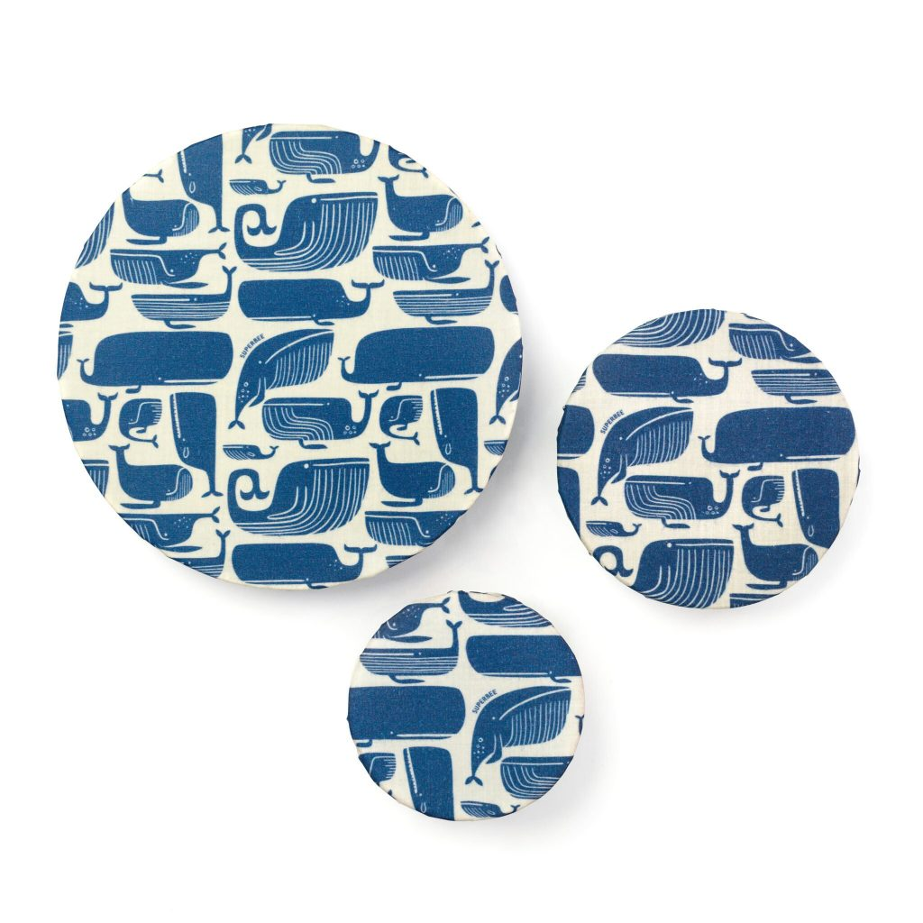 Blue Whales Beeswax Wraps on Bowls