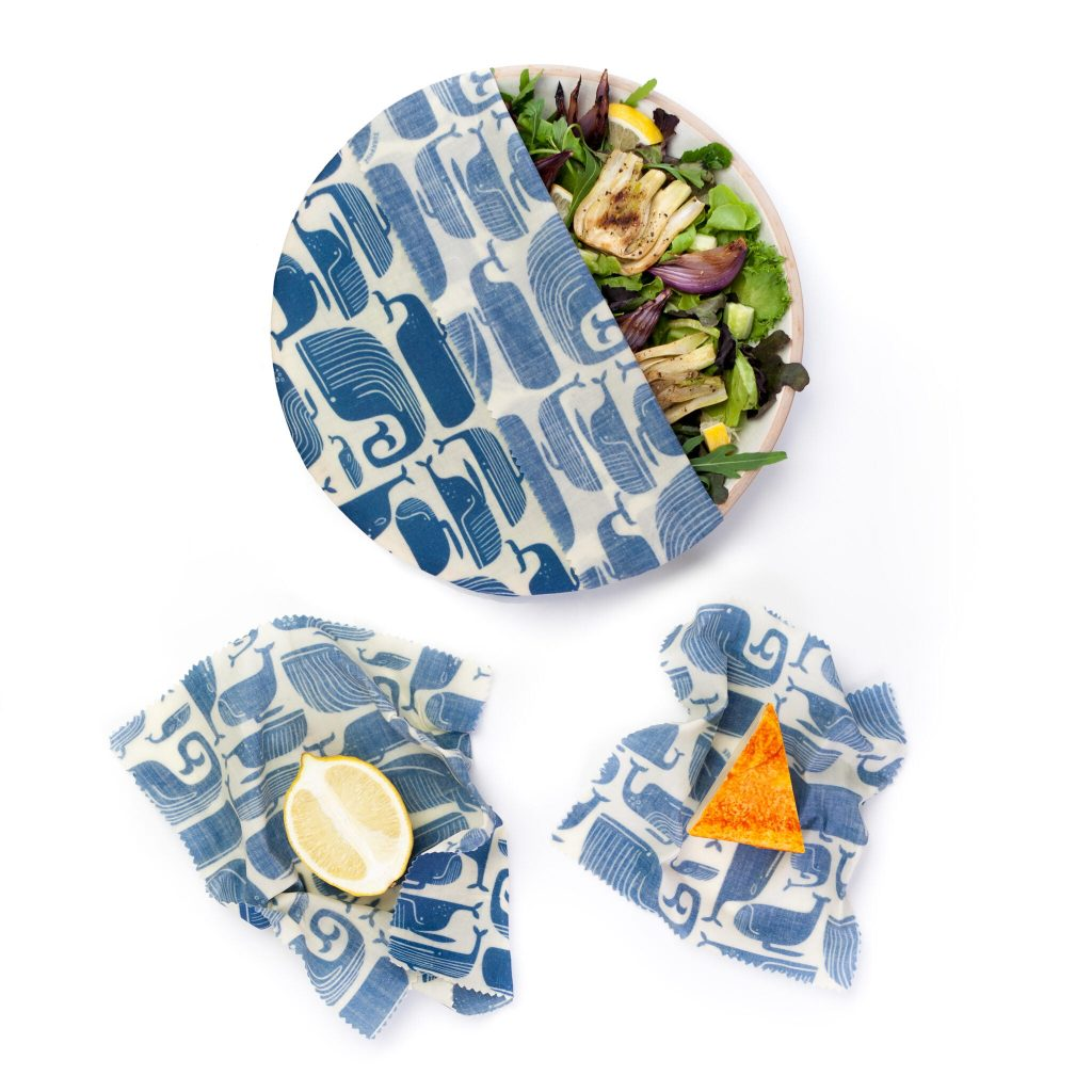 Blue Whales Beeswax Wraps Set in use