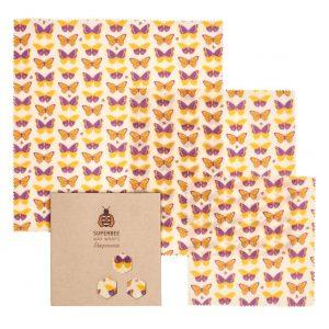 Beeswax Wraps Set in Psychadelic Butterflies Design