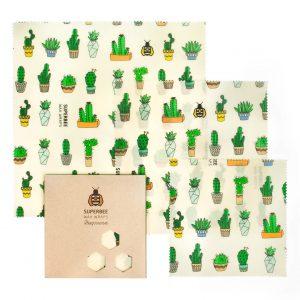 Beeswax Wraps Set in Cactus Design
