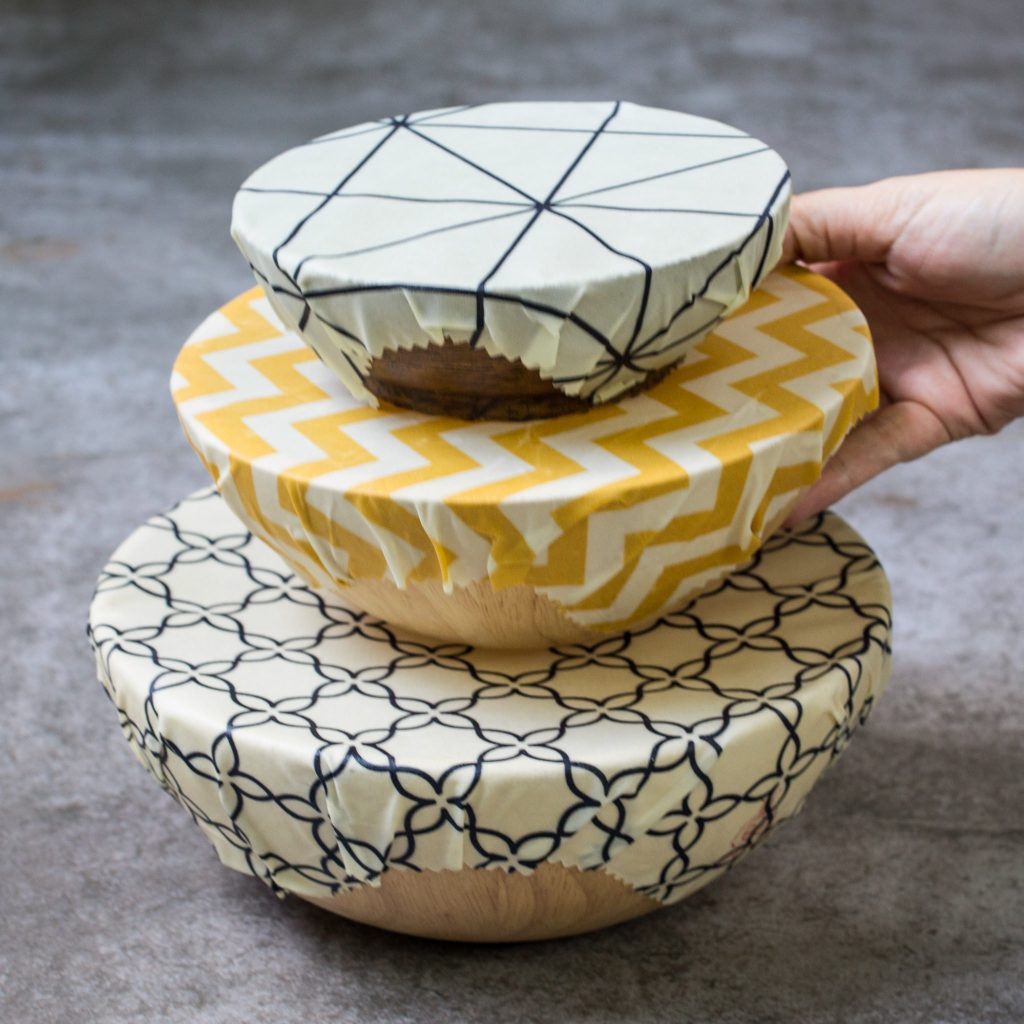 Classical Beeswax Wraps on Bowls
