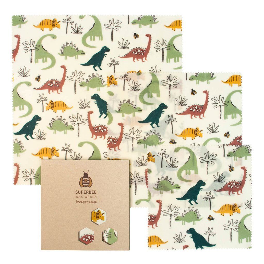 Beeswax Wraps Set in Dinosaurs Design