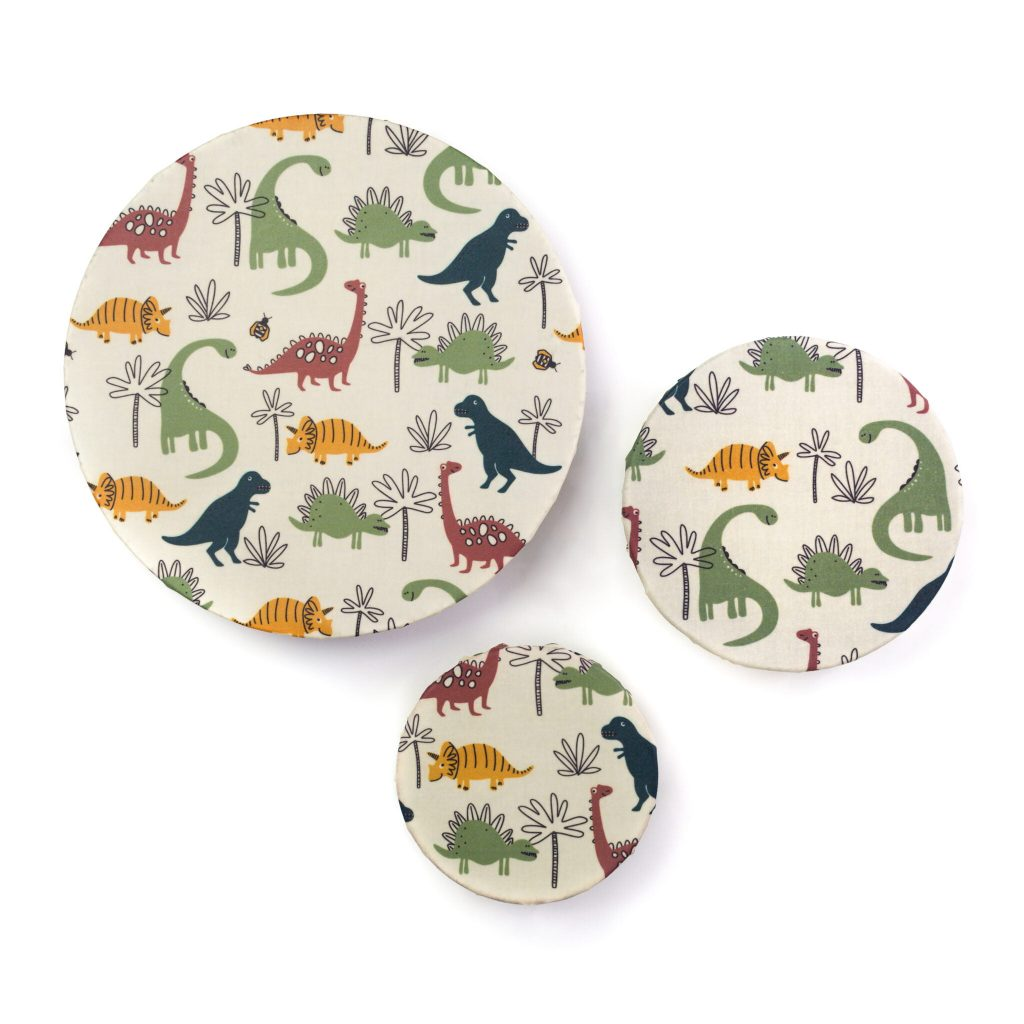 Dinosaurs Beeswax Wraps on Bowls