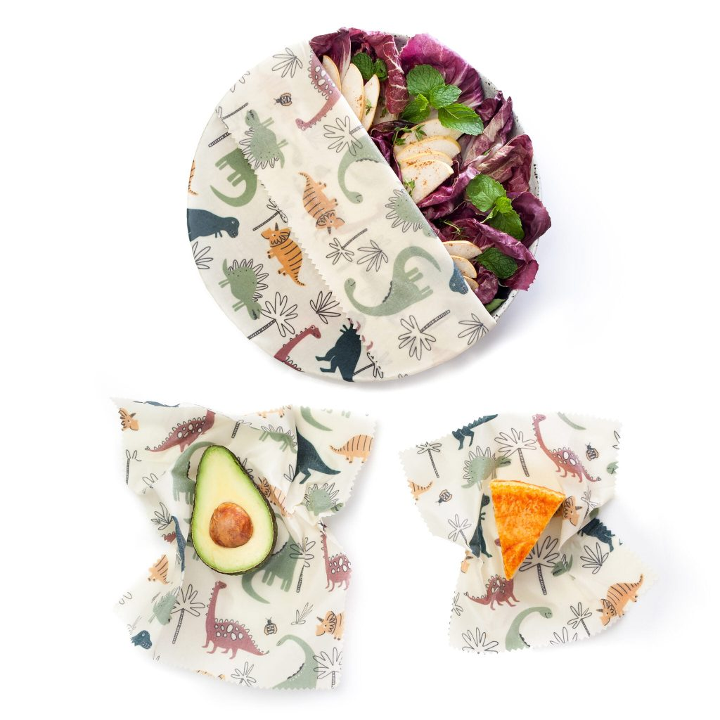 Dinosaurs Beeswax Wraps Set in use