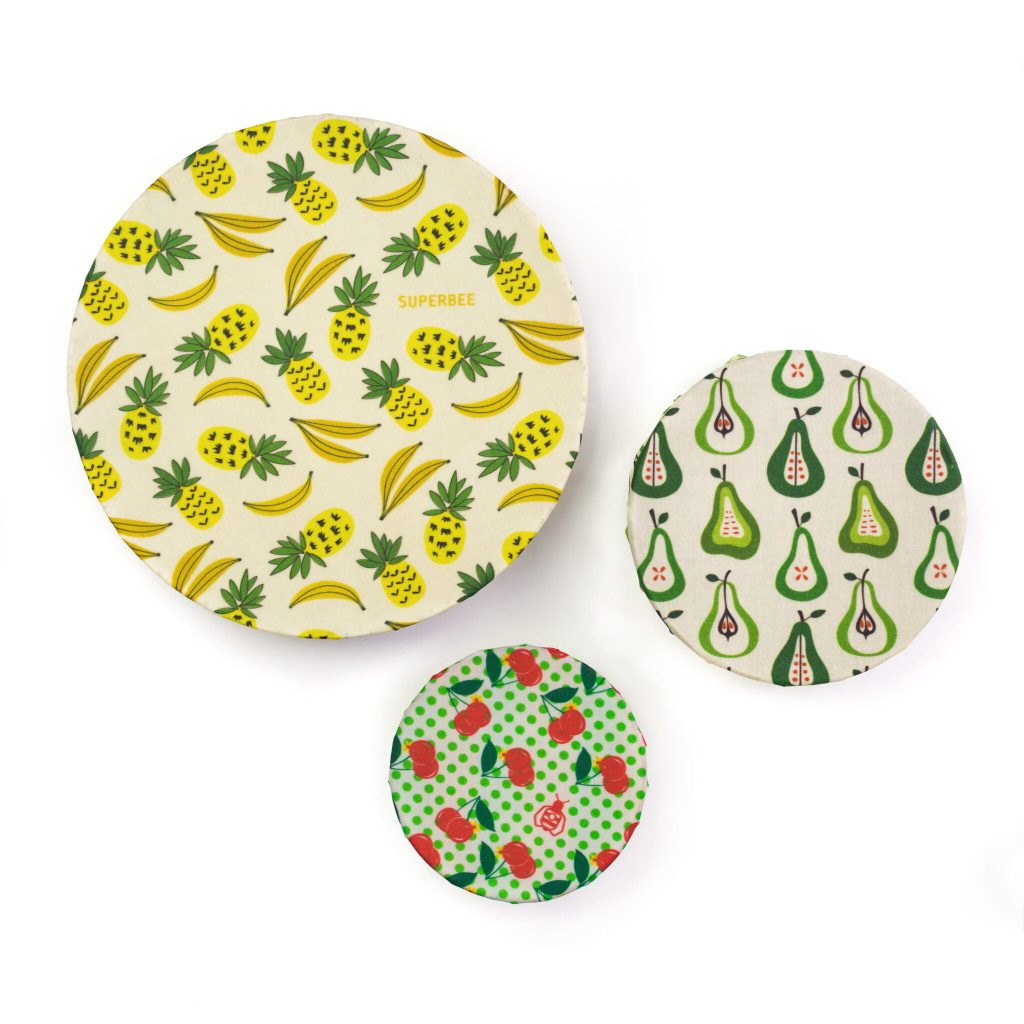 Fruit Punch Beeswax Wraps on Bowls