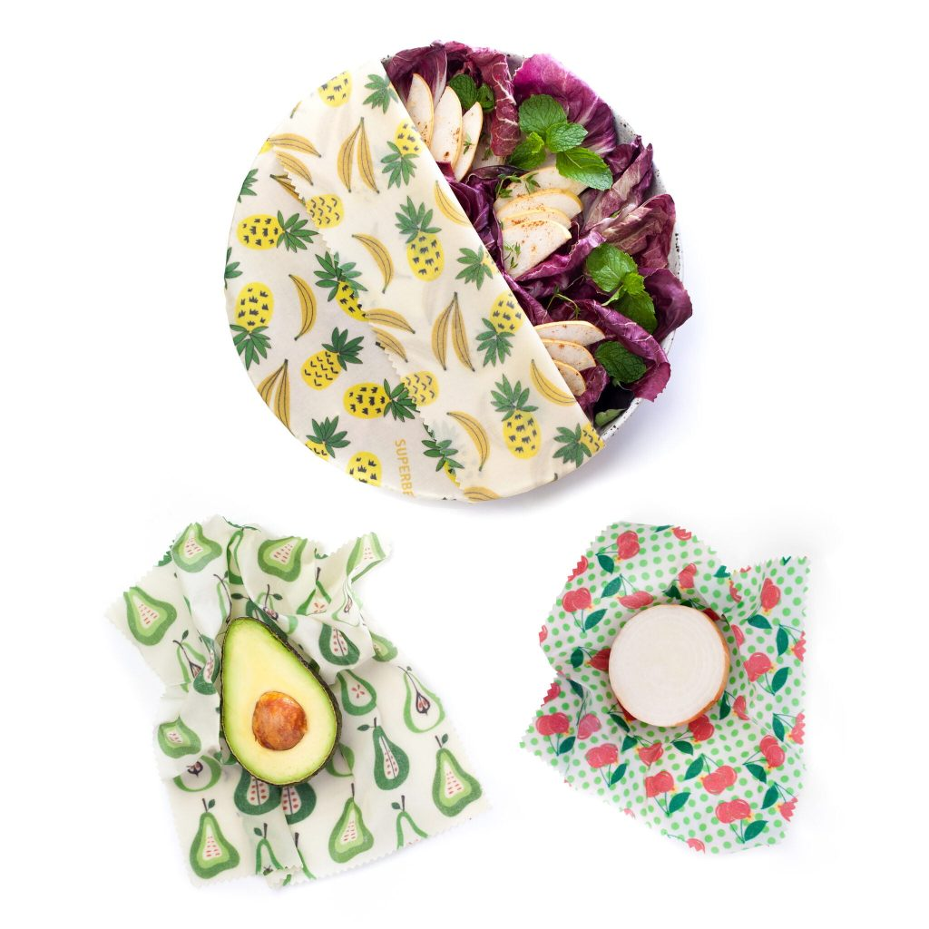 Fruit Punch Beeswax Wraps Set in use