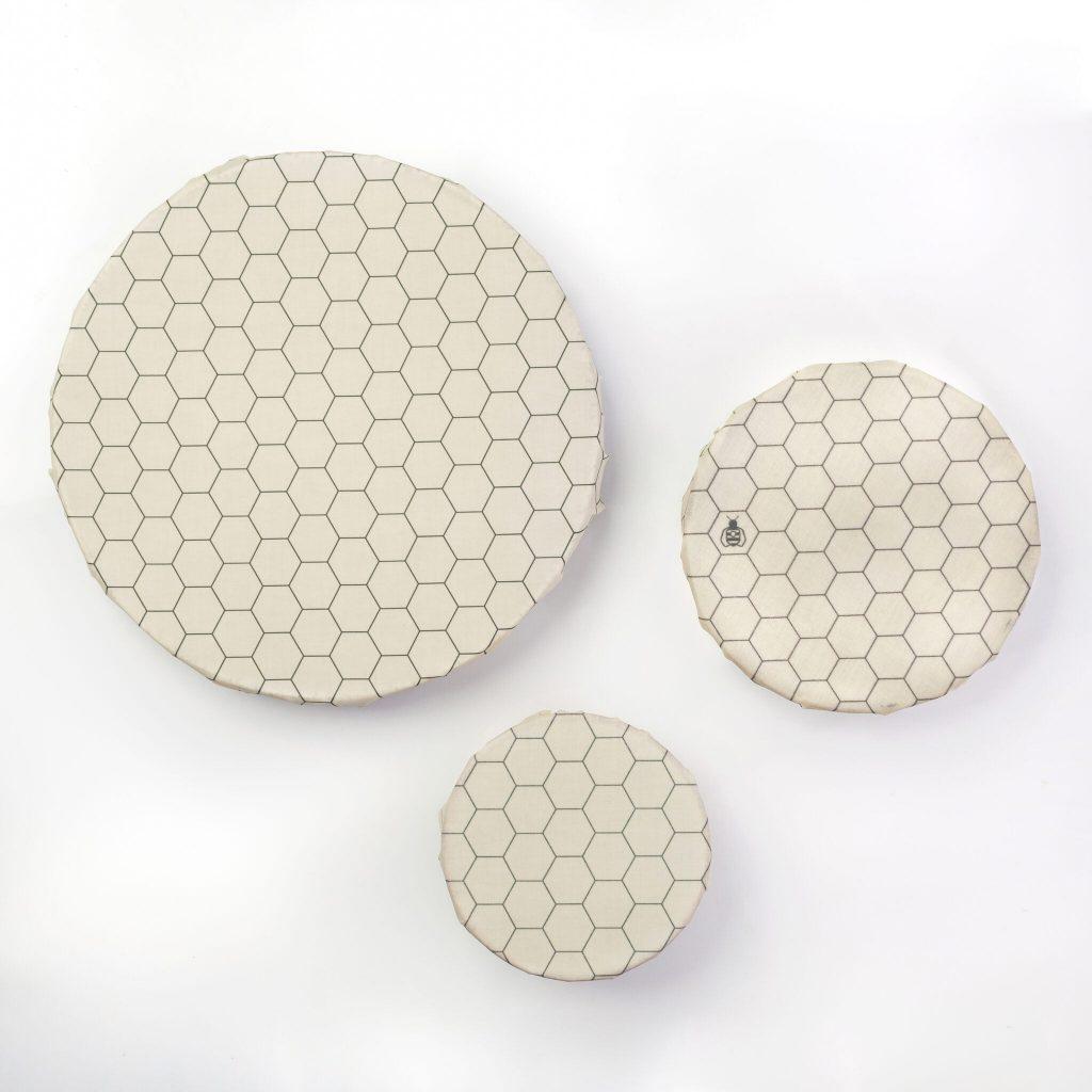Hexagonia Beeswax Wraps on Bowls