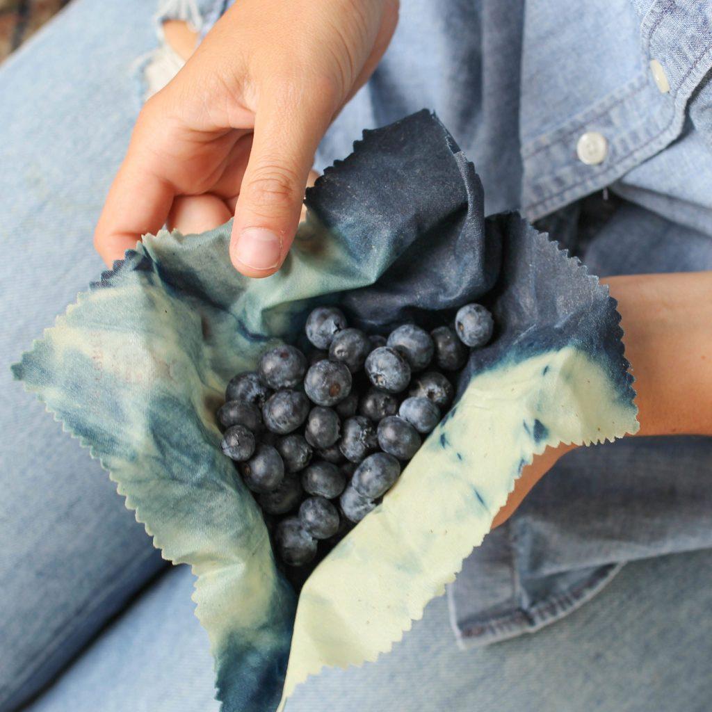 Beeswax Wrap Indigo with blueberries