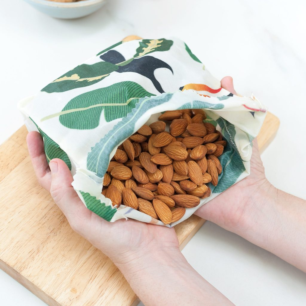 Waxed Food Bag with Almonds