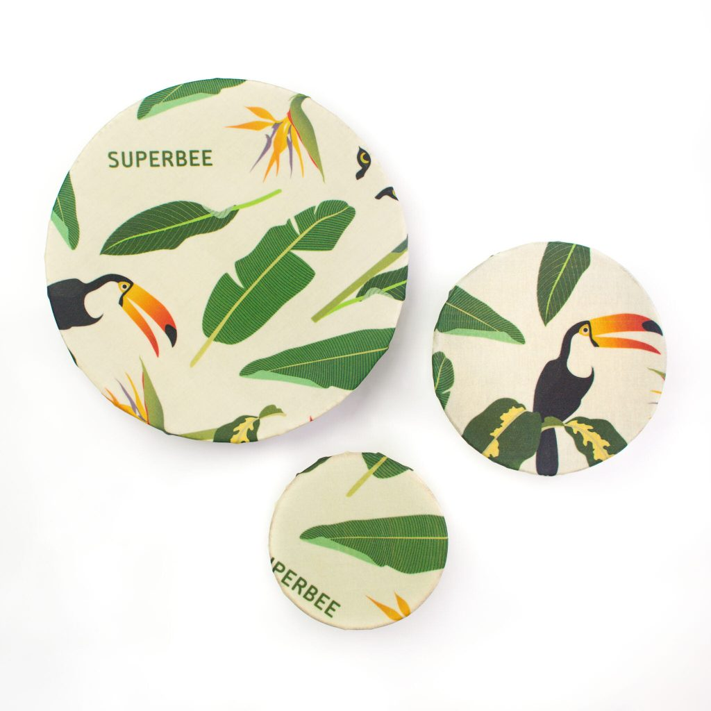 Jungle Beeswax Wraps on Bowls