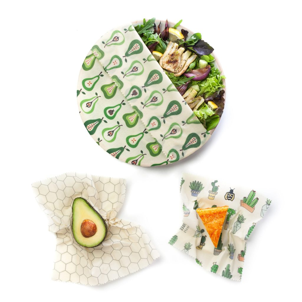Prickly Pear Beeswax Wraps Set in use