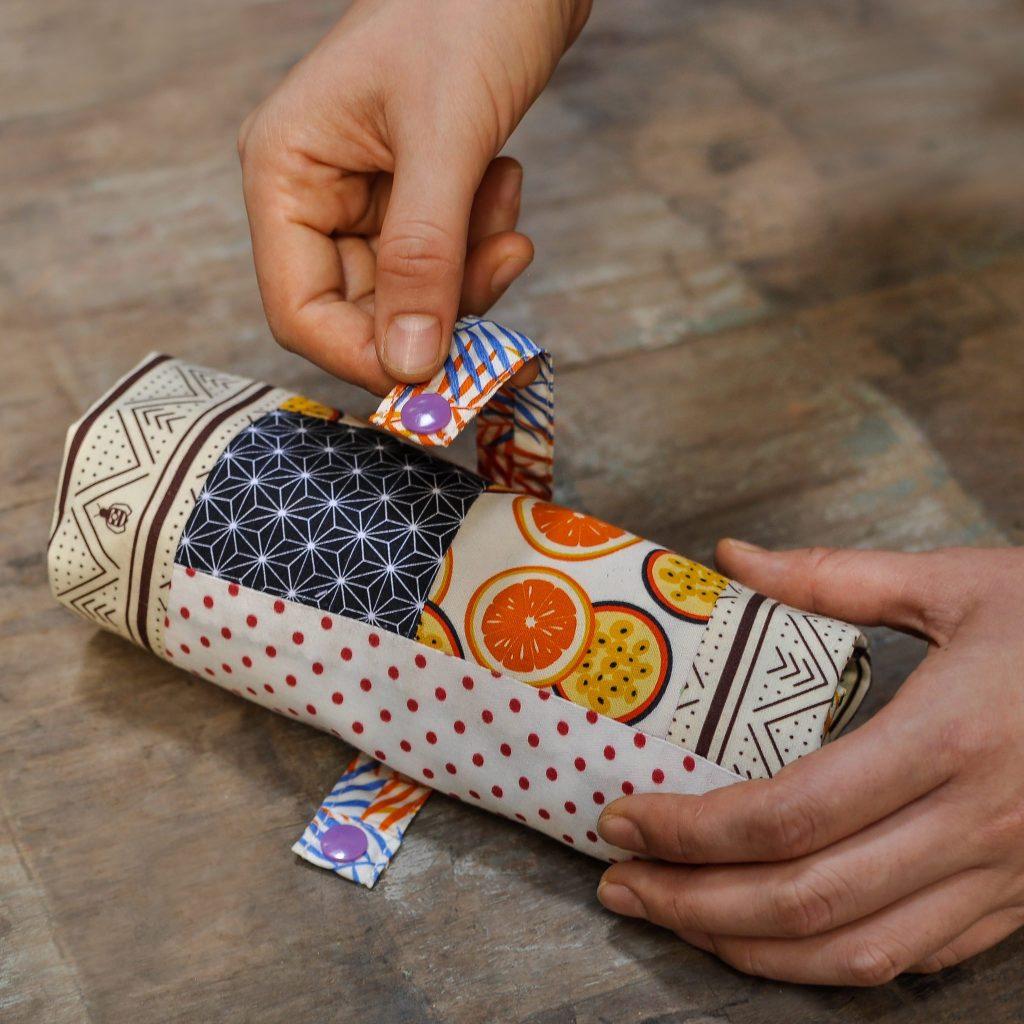 Closing a Reusable Patchwork Tote Bag