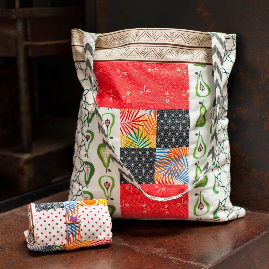 Reusable Patchwork Tote Bag
