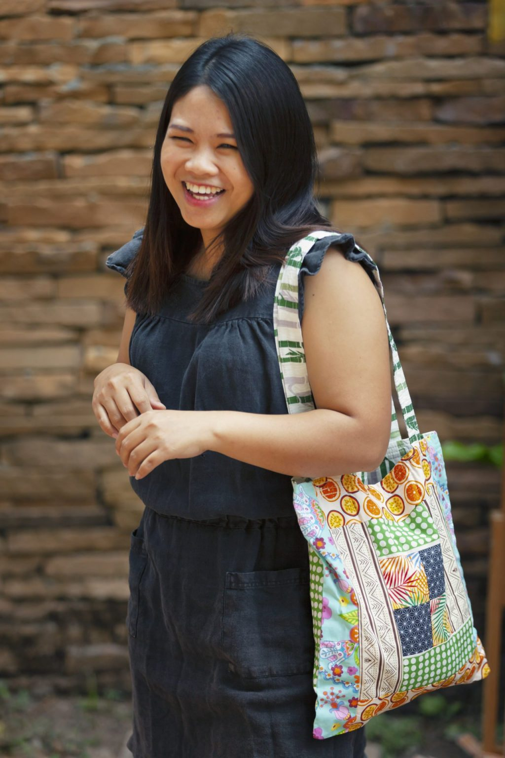 Reusable Patchwork Tote Bag in action