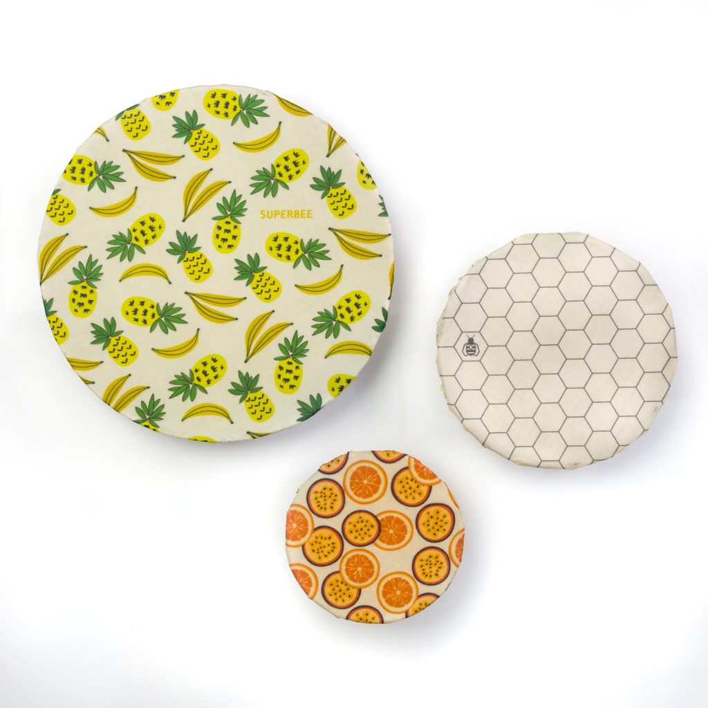 Summer Vibes Beeswax Wraps on Bowls