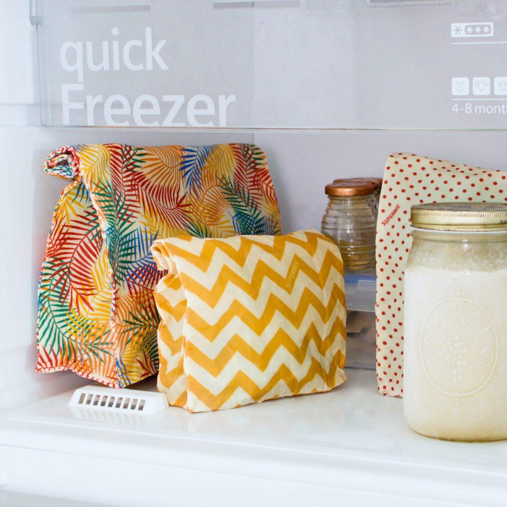 Yellow ZigZag Waxed Food Bag in use