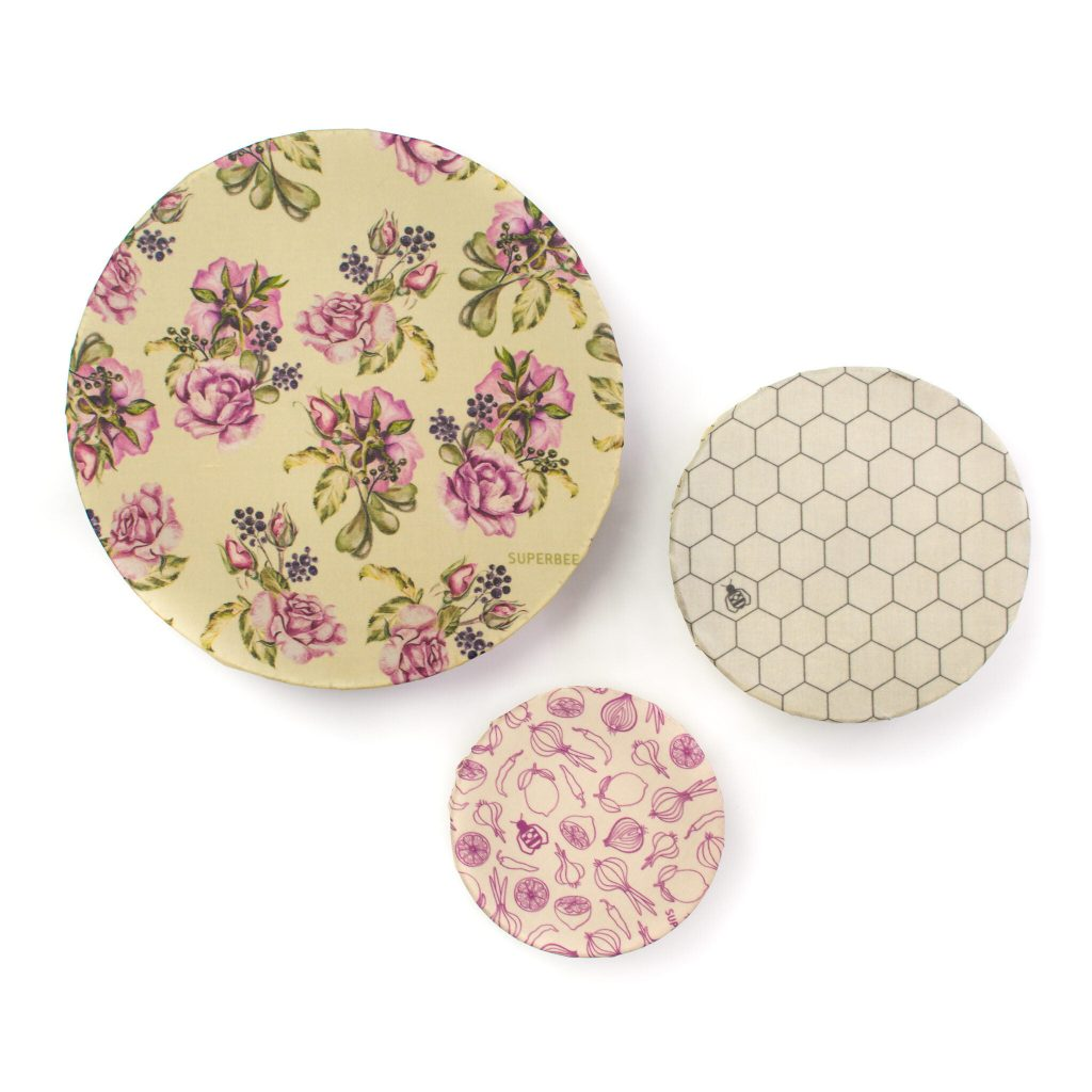 Ultra Violet Beeswax Wraps on Bowls