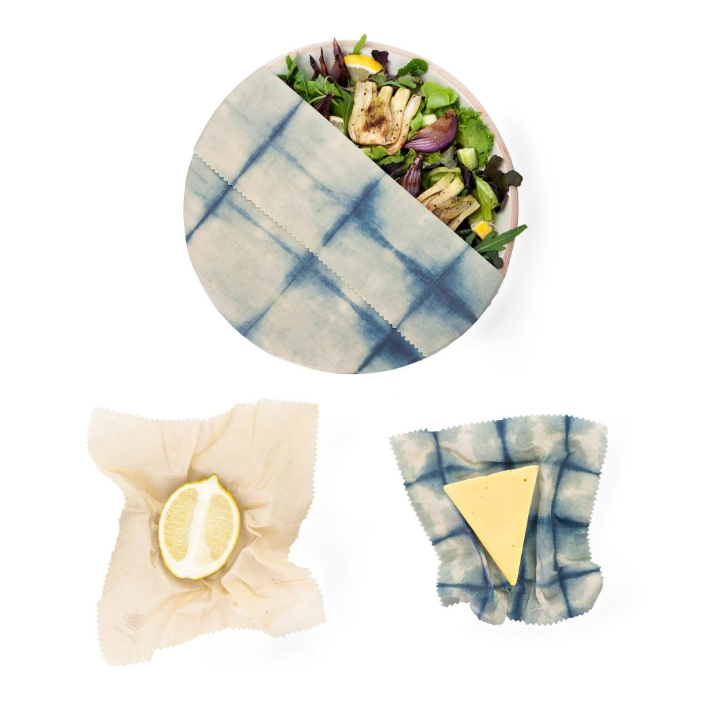 Beeswax Wraps in use with 3 Bowls