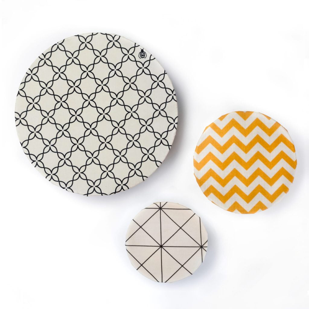 Beeswax Wraps covering 3 Bowls